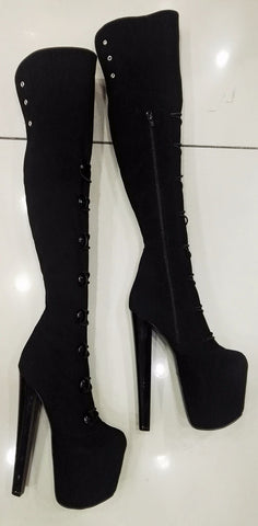 Black Lace up Sexy Over the Knee Platform Boots - Tajna Club