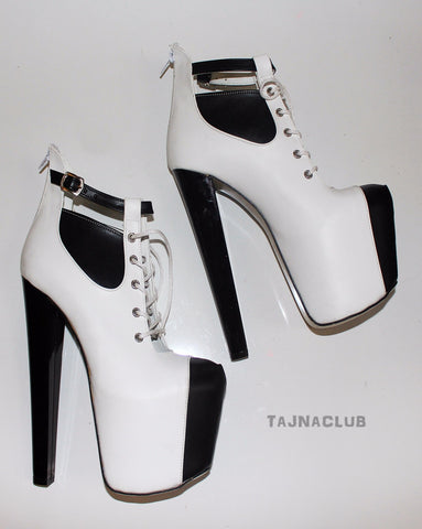 Stylish Black and White Belted Lace-up Platform Boots - Tajna Club