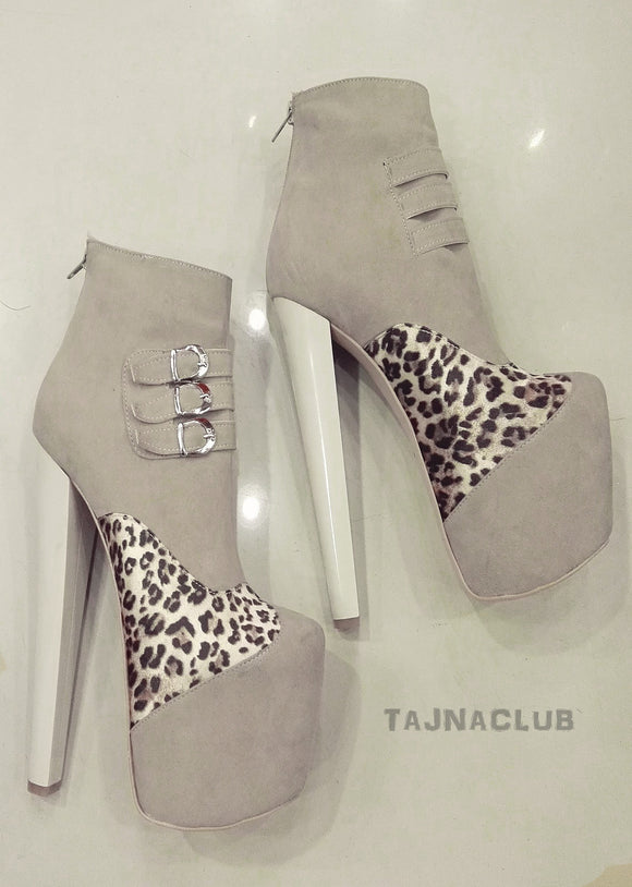 Leopard Touch Beige Suede Belted Platform High Heel Booties - Tajna Club
