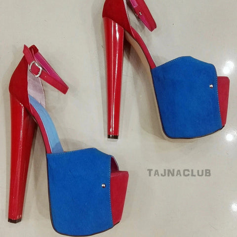 Blue and Red Open-Toe Ankle Strap Heels - Tajna Club