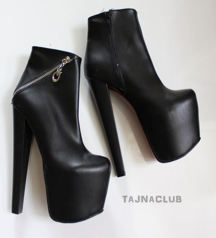 Black Cross Zipper Platform High Heel Boots - Tajna Club
