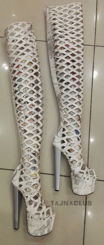 White Gladiator Style Peep toe Over Knee High Platform Boots High Heel Shoes - Tajna Club