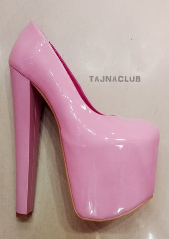 Sugar Pink Patent Leather Platform High Heels - Tajna Club