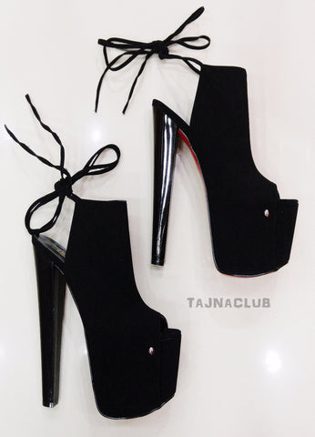 Black Suede Lace up Peep Toe Platform High Heels - Tajna Club