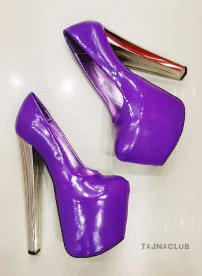 Purple Super Platform Metallic 20 cm High Heels - Tajna Club