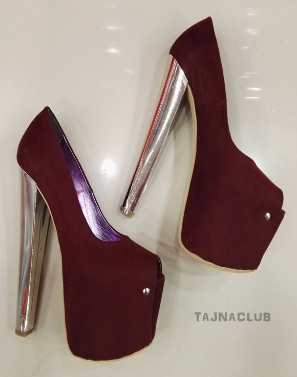 Burgundy Suede Super Platform Metallic 20 cm High Heels - Tajna Club