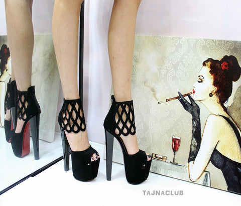 Black Suede Peep toe Platform High Heels - Tajna Club