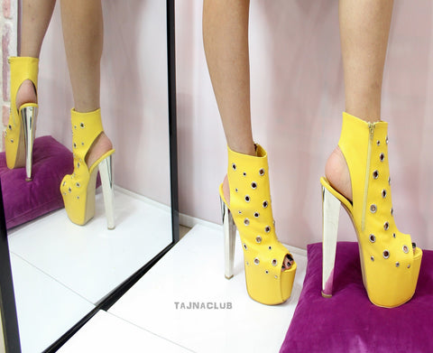 Yellow Peep Toe Super Platform Metallic 20 cm High Heels - Tajna Club