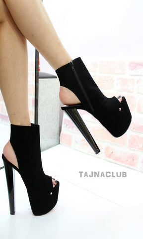 Black Zipper Peep toe Platform High Red Heels - Tajna Club