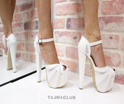 White Peep Toe Platform High Heels - Tajna Club