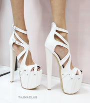 White Ankle Strap Peep toe Platform High Heels - Tajna Club