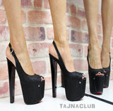 Black Sparkling Peep Toe Platforms - Tajna Club