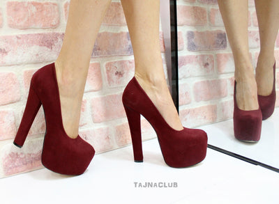 Burgundy Suede Platform High Heels - Tajna Club