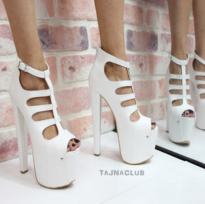 White Caged Belt Peep Toe Platform High Heels - Tajna Club