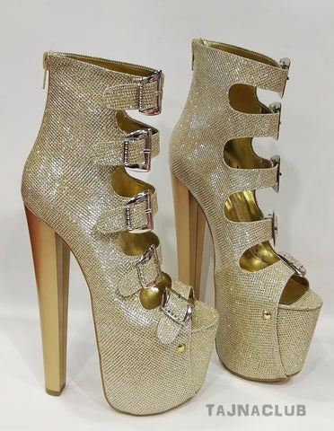 Gold Silvery Bandage Belt Buckle High Heel Platform Boots - Tajna Club