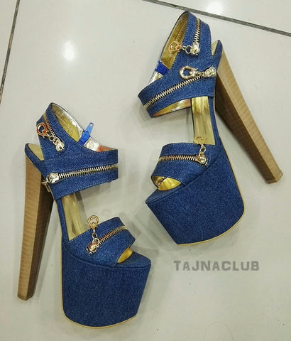 Denim  20 cm Platform High Heels - Tajna Club