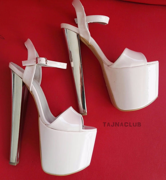 White Ankle Strap Metallic  High Heels - Tajna Club