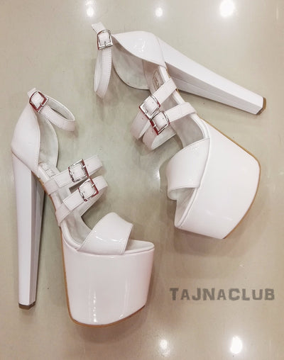 White Belt Buckle Platform High Heels - Tajna Club