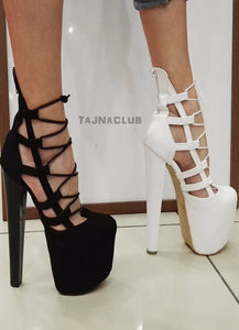 Suede Caged Platform High Heels - Tajna Club