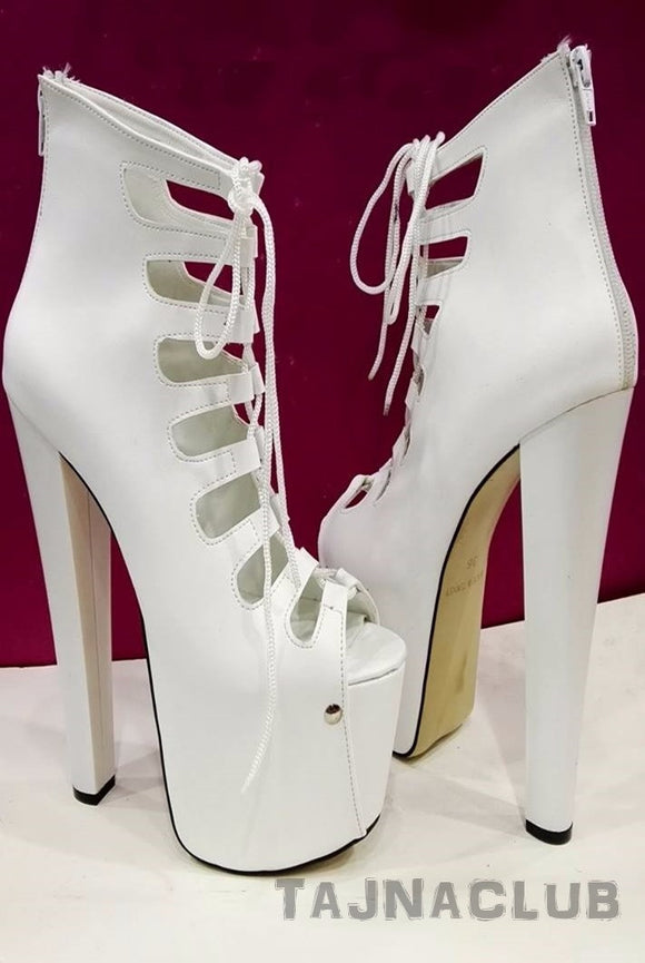 White Gladiator Style Peep toe Platform High Heels - Tajna Club