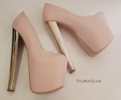 Powder Pink Metallic Heels Mega Platform 20 cm High Heel Pumps - Tajna Club