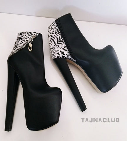 Leopard Detailed Ankle Boots Platform High Heel Shoes - Tajna Club