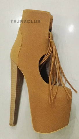 Ginger Suede Fringed Ankle Boots Mega Platform 20 cm High Heel Shoes - Tajna Club