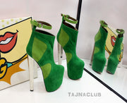 Green Suede Ankle Boots Platform High Heel Shoes - Tajna Club