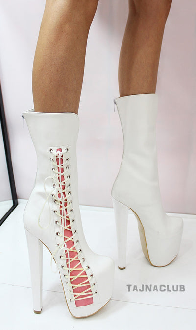 White Ballerina Lace up Mid Calf Boots - Tajna Club