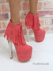 Peach Pink Fringe Ankle Boots Platform High Heel Boots - Tajna Club