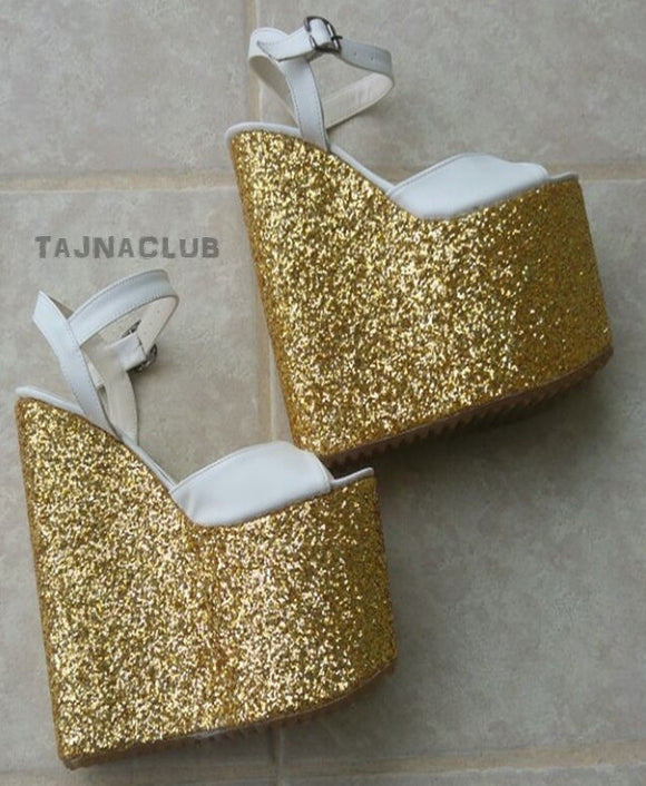 Sandals Wedge Heel Ankle Strap Gold Glitter Platform High Heels Shoes - Tajna Club
