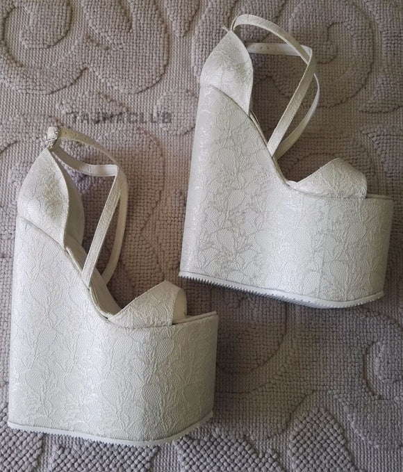 Wedding Sandals Wedge Heel Cross Strap Platform High Heels Shoes - Tajna Club