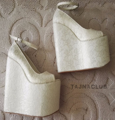 Wedding Sandals Wedge Heel Platform High Heels Shoes - Tajna Club