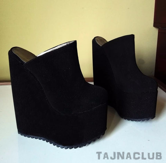 Mules Wedge Heel Black Platform High Heels Shoes - Tajna Club