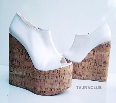 Peeptoe Booties Wedge Heel White Platform High Heels Shoes - Tajna Club