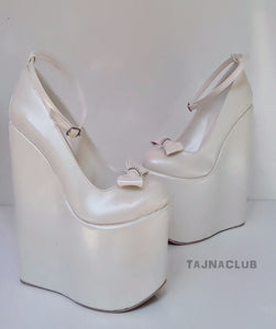 Wedding Sandals Ankle Strap Bow Wedge Heel White Platform High Heels Shoes - Tajna Club