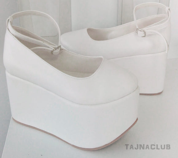 White 10 cm Wedge Heel White Platform Shoe Wedding Bridal - Tajna Club
