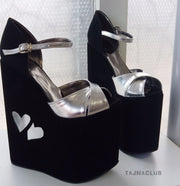 Black and Silver Ankle Strap Wedge Sandals - Tajna Club