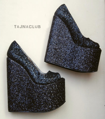 Peeptoe Glitter Black Wedge Heel Platform High Heels Shoes - Tajna Club