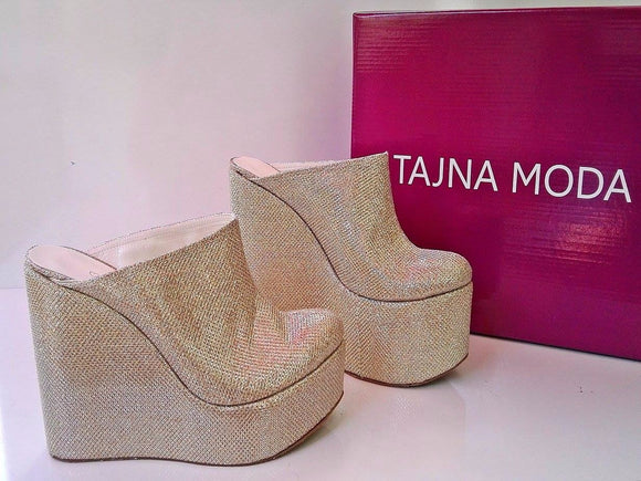 Mules Gold Glitter Wedge Heel Platform High Heels Shoes - Tajna Club