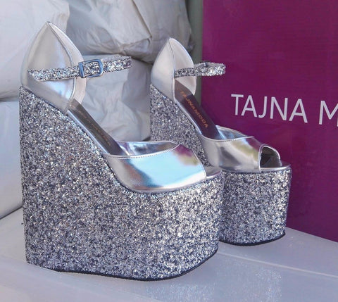 Sandals Ankle Strap Silver Glitter Wedge Heel Platform High Heels Shoes - Tajna Club