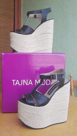 Sandals Summer Wicker Wedge Heel Platform High Heels Shoes - Tajna Club