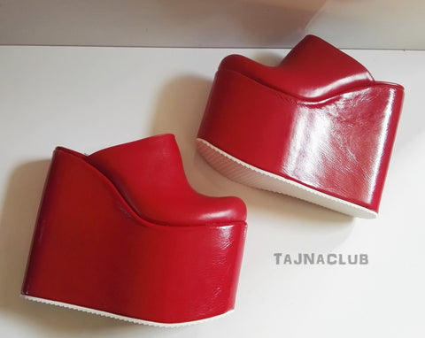 Mules Faux Patent Leather Red Wedge Heel Platform High Heels Shoes - Tajna Club