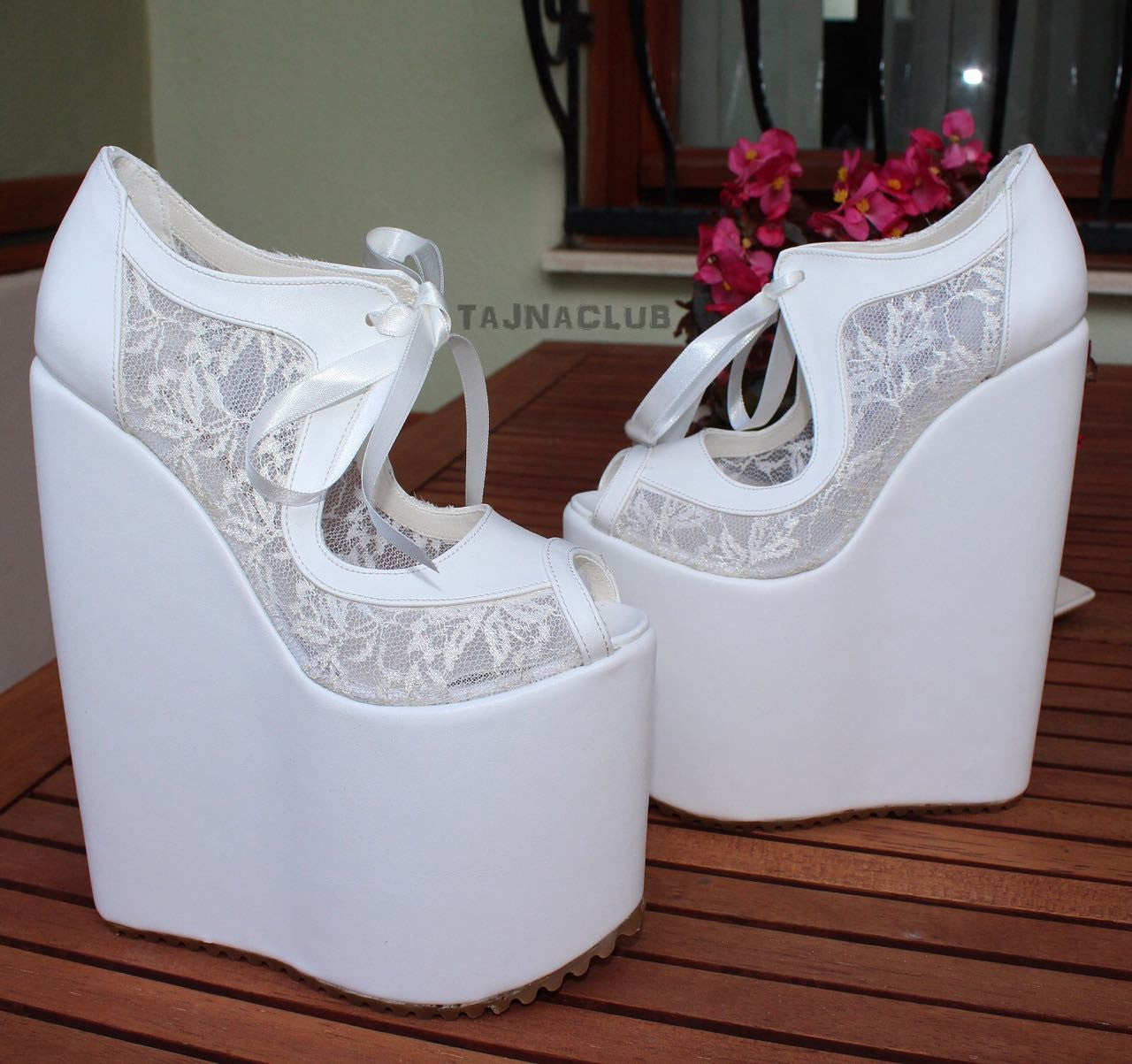 8478a0817f Wedding Shoes Laceup White Wedge Heel Platform High Heels Shoes ...