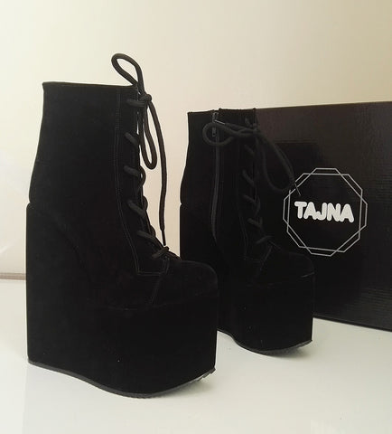 Boots Laceup Wedge Heel Platform High Heels Shoes - Tajna Club