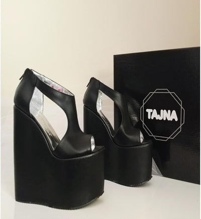 Sandals Black Wedge Heel Platform High Heels Shoes - Tajna Club