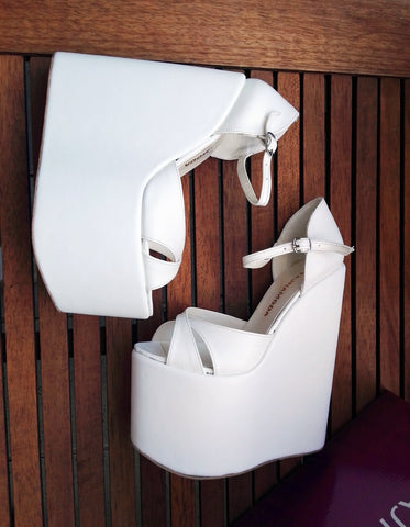 Sandals White Wedge Heel Platform High Heels Shoes - Tajna Club