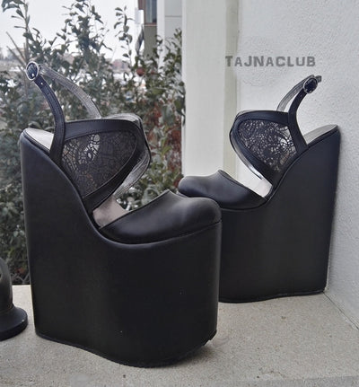 Sandals Lace Black Wedge Heel Platform High Heels Shoes - Tajna Club