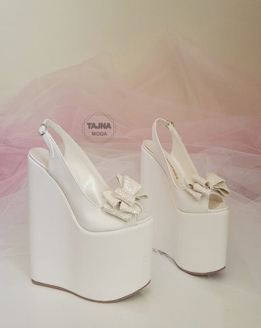 Wedding Peeptoe White Bow  Wedge Heel Black Platform High Heels Shoes - Tajna Club