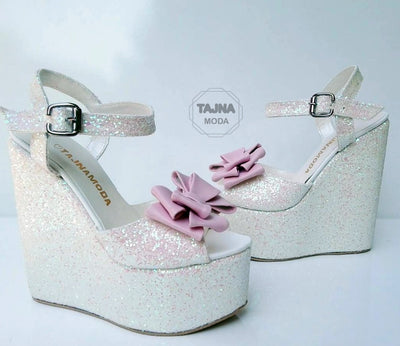 Wedding Sandals Bow Peeptoe Glitter Wedge Heel Black Platform High Heels Shoes - Tajna Club